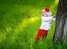 Little girl standing near a tree. On the green grass Stock Photos