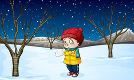 Little girl standing out in the snow Stock Photography