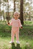 A little girl standing in the Park with two cones in her hands. The baby holds two cones in the spruce forest against the green grass in a pink suit and looks stock image