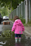 Little girl standing in a puddle. Stock Images