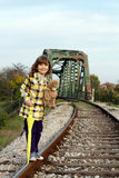Little girl standing on railroad Royalty Free Stock Images