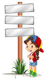 Little girl standing by the road signs Stock Photography