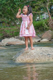 Little girl standing on stone. In a forest stream royalty free stock photo