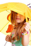 Little Girl standing with umbrella Royalty Free Stock Photos