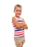 Little girl standing on white background. I'm small so far, but I'm learning to understand the sense of life Stock Images
