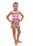 Little girl standing on white background Stock Photography