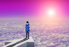 Little girl stands above the clouds and looks how sun rising over the horizon. Little girl stands on an arrow high above the clouds and looks how sun rising over royalty free stock images