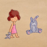 Little girl stands and hold rabbit doll Royalty Free Stock Images