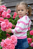 The little girl stands near a bush of the blossoming rose Royalty Free Stock Photos