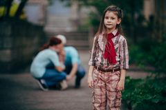 Little girl stay alone in park Stock Images