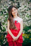 Little girl stay near the cherry tree Royalty Free Stock Image