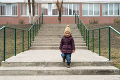 Little girl staying on the stairs Royalty Free Stock Images