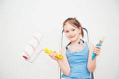 Little girl on step ladder royalty free stock images