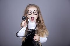 Little girl with  stethoscope. Royalty Free Stock Photos