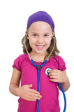 Little girl with a stethoscope Royalty Free Stock Photo