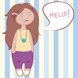 Hello girl   illustration Stock Images
