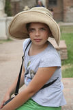 Little girl with a straw hat Royalty Free Stock Photo