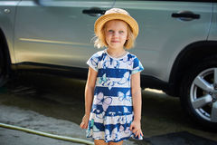Little girl in straw hat Royalty Free Stock Photo