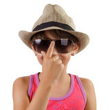 Little girl in a straw hat and sunglasses Stock Photography