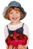 Little girl with strawberries Royalty Free Stock Photography