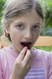 Little Girl With Strawberry Royalty Free Stock Image