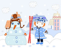Little girl stretches skiing snowman, winter Royalty Free Stock Photo