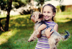 Little girl in a striped sweater smiles and holds a small dog. Girl in a striped sweater smiles and holds a small dog Royalty Free Stock Photography