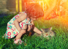 Little girl stroking a cat. On a green lawn Royalty Free Stock Photography