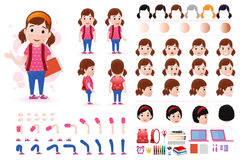 Little Girl Student Character Creation Kit Template with Different Facial Expressions. Hair Colors, Body Parts and Accessories. Vector Illustration Stock Photo