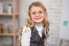Little Girl Student School Uniform Style Education Concept stock image