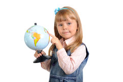 The little girl studies the globe Royalty Free Stock Photography