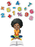 Little girl studying math Stock Photos