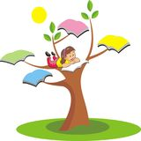 Little girl are studying on trees. Vector illustration royalty free illustration