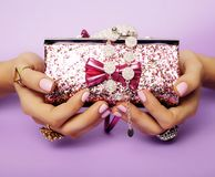 Little girl stuff for princess, woman hands holding small cute h Stock Photos