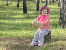 Little girl stump Royalty Free Stock Images