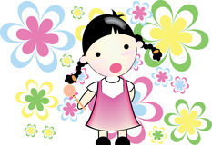 Little girl. Is stunning, in smiley in hand and flower background Royalty Free Stock Photography
