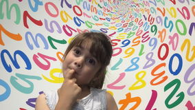 Little girl suddenly know how to solve an arithmetic problem stock video footage