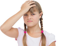 Little girl suffering from headache Royalty Free Stock Photo
