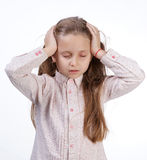 Little girl suffering from headache Royalty Free Stock Photos