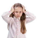 Little girl suffering from headache Royalty Free Stock Images