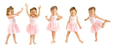 The little girl in a suit of the ballerina dances. On a white background stock photos