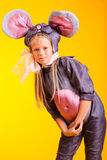 Little girl in the suit of mouse Royalty Free Stock Images