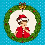 little girl in suit Snow Maiden. Stock Photo
