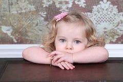 Little Girl on Suitcase Stock Photos