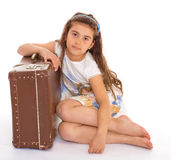 Little girl with a suitcase Royalty Free Stock Photo