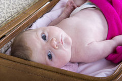 Little girl in suitcase. One month baby girl in a vintage suitcase Stock Images