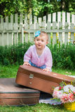 Little girl on suitcase Stock Photography