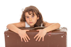 Little girl with a suitcase Royalty Free Stock Images