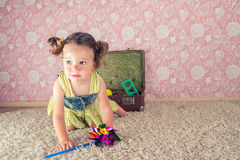 Little girl with suitcase stock photos