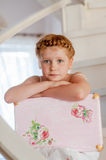 Little girl with a suitcase Stock Image
